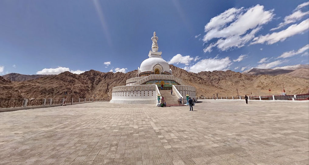 Panoramic view of Leh and Shanti Stupa