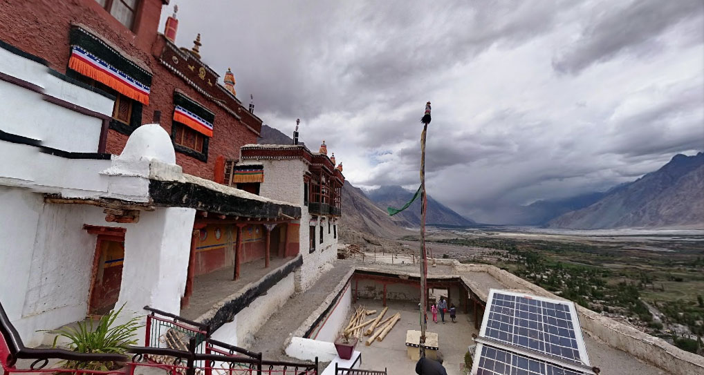 Nubra Valley is spread over 10000 sq km get a sense of it from the Diskit Gompa