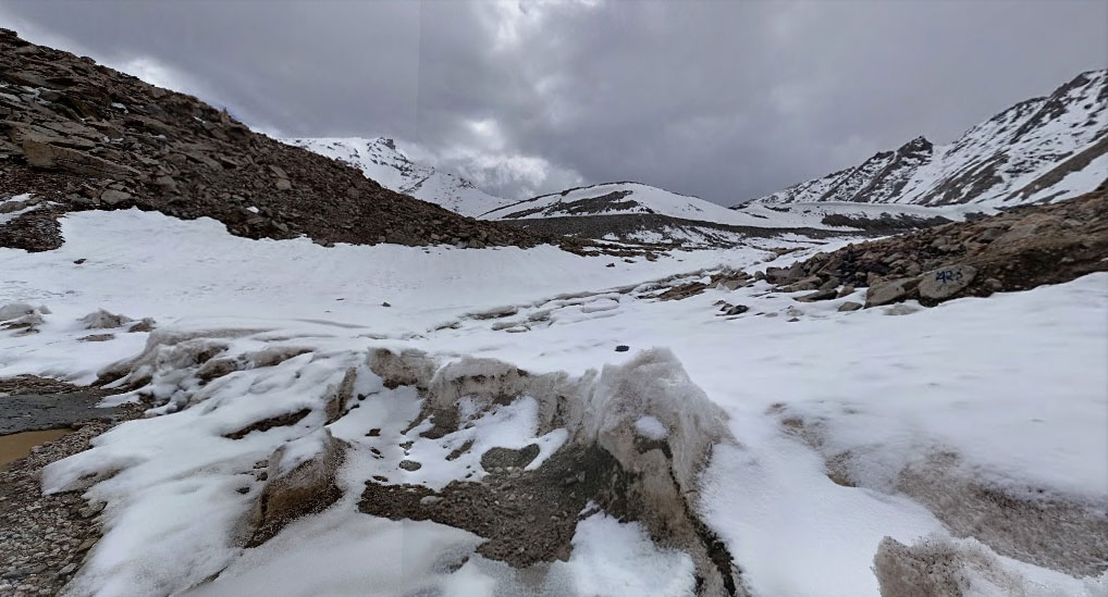 Fresh snowfall at Khardung-La top on our way back to Leh from Nubra Valley