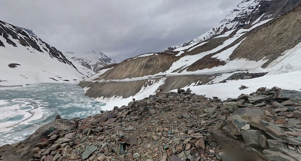 Suraj Vishaal Taal had just started to melt and still surrounded by snow on 26th June